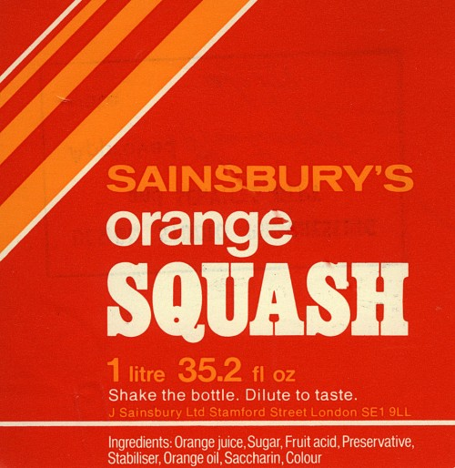 SA/PKC/PRO/1/11/2/2/4/2 - Sainsbury's Orange Squash label, 1970s-1980s
