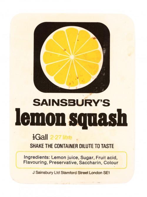 SA/PKC/PRO/1/11/2/2/4/3 - Sainsbury's Lemon Squash ½Gall 2.27 litre label, 1970s