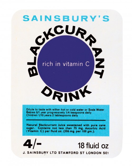 SA/PKC/PRO/1/11/2/2/5/1 - Sainsbury's Blackcurrant Drink 18 fluid oz label, 1960s