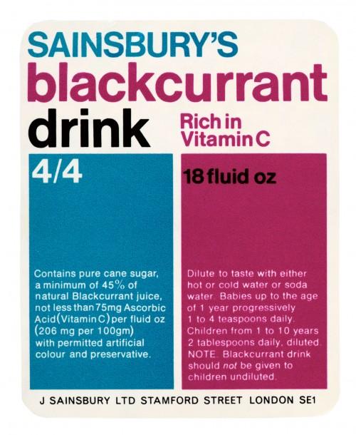 SA/PKC/PRO/1/11/2/2/5/2 - Sainsbury's Blackcurrant Drink 18 fluid oz label, 1970