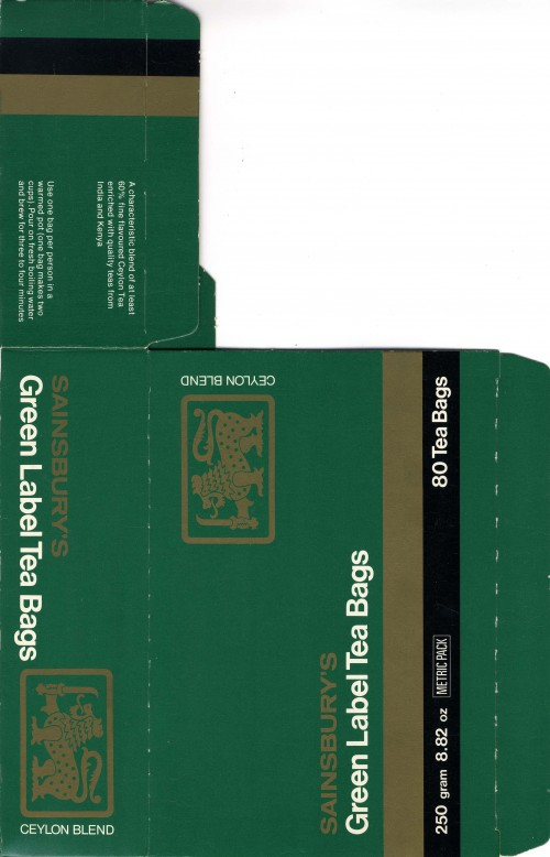 SA/PKC/PRO/1/11/2/3/1/1 - Sainsbury's Green Label Ceylon brand Tea Packaging