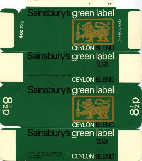 SA/PKC/PRO/1/11/2/3/1/2 - Sainsbury's Green Label Ceylon brand Tea Packaging