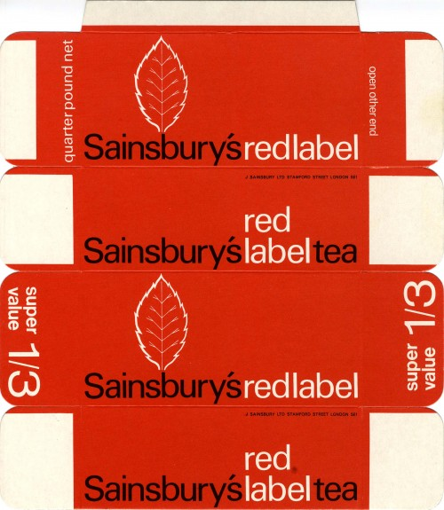 SA/PKC/PRO/1/11/2/3/2/1 - Sainsbury's Red Label Tea packaging, 1960s-1980s