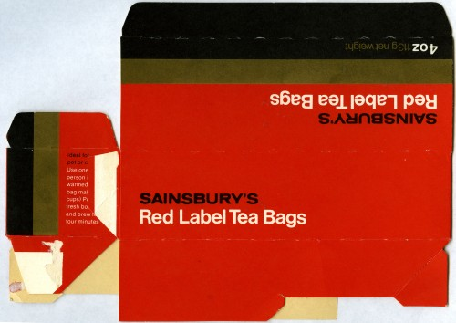 SA/PKC/PRO/1/11/2/3/2/2 - Sainsbury's Red Label Tea Bags packaging, 1976