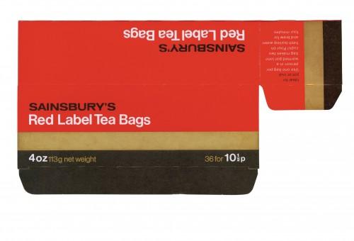 SA/PKC/PRO/1/11/2/3/2/4 - Sainsbury's Red Label Tea Bags 4oz 113g (36 bags) packet, 1970s