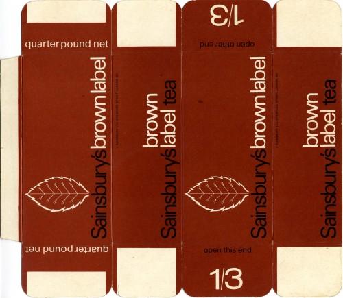 SA/PKC/PRO/1/11/2/3/3/1 - Sainsbury's Brown Label Tea packaging, 1960s