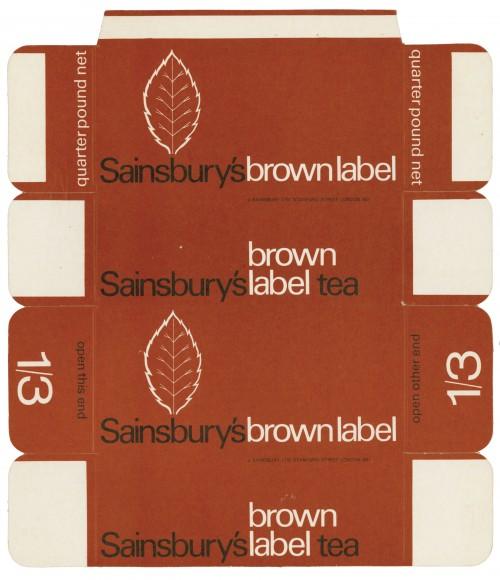 SA/PKC/PRO/1/11/2/3/3/2 - Sainsbury's Brown Label Tea quarter pound packet, 1960s