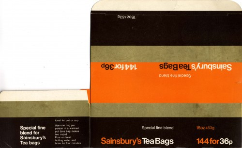 SA/PKC/PRO/1/11/2/3/8/1 - Sainsbury's Tea Bags (Special fine blend) packaging, 1960s-1970s