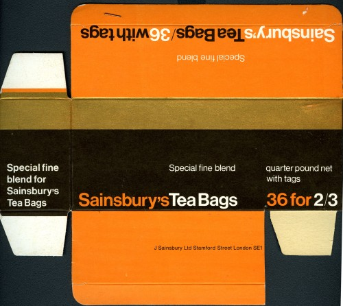 SA/PKC/PRO/1/11/2/3/8/2 - Sainsbury's Special Fine Blend Tea packaging Tea Bags, c.1960s-1970s