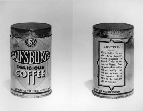 SA/PKC/PRO/1/11/4/a1/3 - Photograph of Sainsbury's Delicious Coffee tin