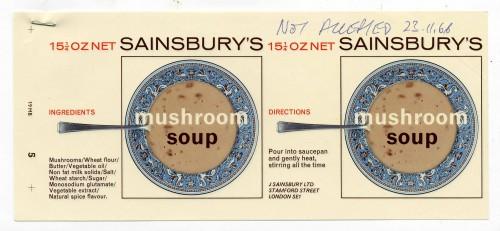 SA/PKC/PRO/1/12/2/1/12/1 - Sainsbury's Mushroom Soup label, 1960s