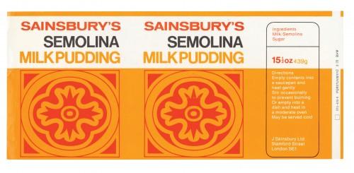 SA/PKC/PRO/1/12/2/1/21/1 - Sainsbury's Semolina Milk Pudding label