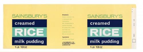 SA/PKC/PRO/1/12/2/1/25/2 - Sainsbury's Creamed Rice Milk Pudding label, Feb 1968