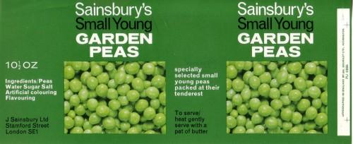 SA/PKC/PRO/1/12/2/2/84/1 - Sainsbury's Small Young Garden Peas 10½oz can label
