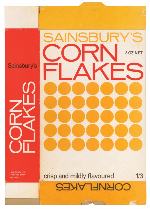 SA/PKC/PRO/1/13/2/1/12/1 - Sainsbury's Cornflakes 8 oz packet, 1970