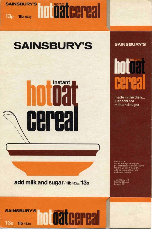 SA/PKC/PRO/1/13/2/1/2/1 - Sainsbury's Instant Hot Oat Cereal 1lb 453g packet