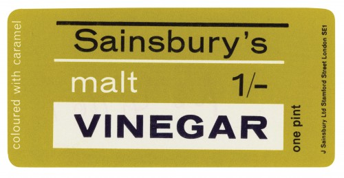 SA/PKC/PRO/1/14/2/1/1/1 - Sainsbury's Malt Vinegar one pint label, 1967