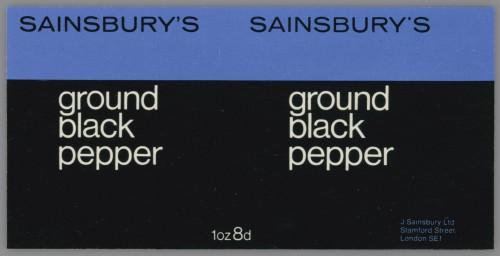 SA/PKC/PRO/1/14/2/1/3/1 - Sainsbury's Ground Black Pepper 1oz label, 1960s