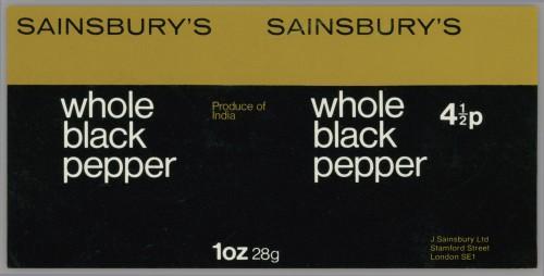 SA/PKC/PRO/1/14/2/1/5/1 - Sainsbury's Whole Black Pepper 1oz 28g label, 1973