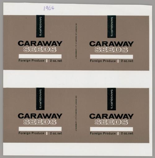 SA/PKC/PRO/1/14/2/2/15/1 - Sainsbury's Caraway Seeds proof of labels, 1964