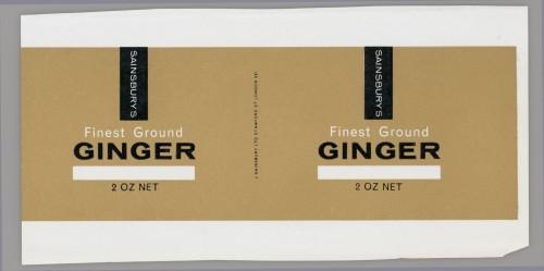 SA/PKC/PRO/1/14/2/2/24/1 - Sainsbury's Finest Ground Ginger 2 oz label, 1965