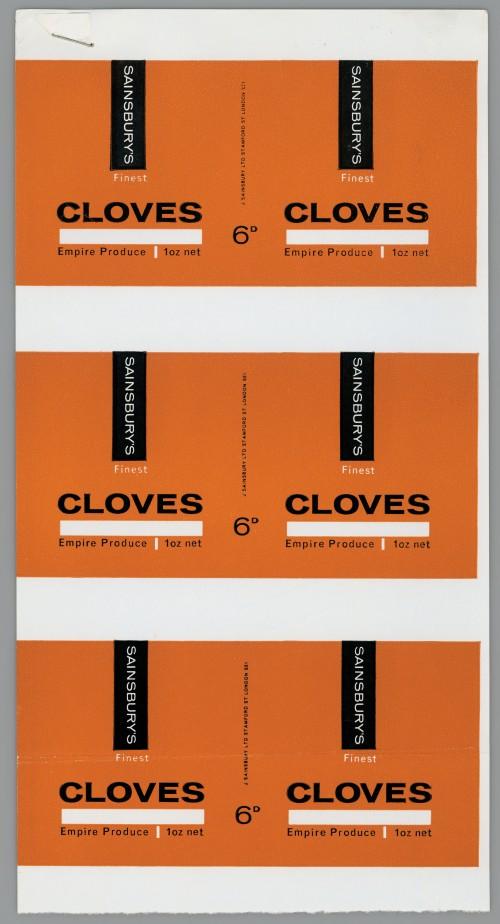 SA/PKC/PRO/1/14/2/2/29/1 - Sainsbury's Finest Cloves 1oz proof of labels 6D, 1965