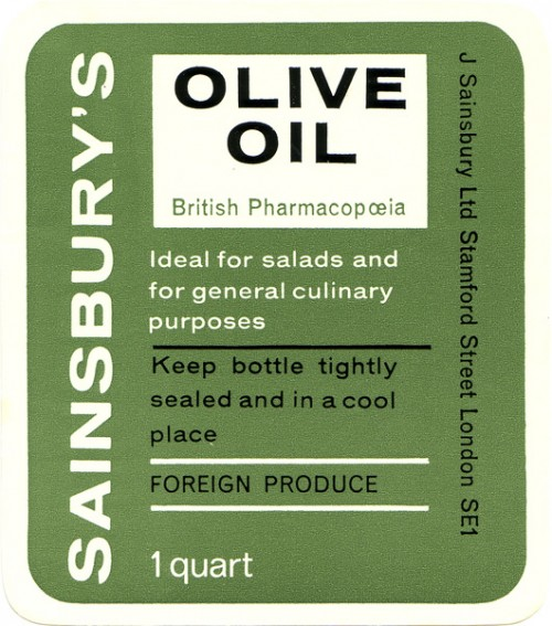 SA/PKC/PRO/1/14/2/2/3/1 - Bottle label for Sainsbury's Olive Oil