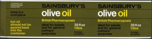 SA/PKC/PRO/1/14/2/2/3/2 - Sainsbury's Olive Oil 35floz/1 litre packaging, 1970s