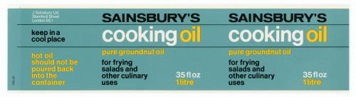 SA/PKC/PRO/1/14/2/2/4/2 - Sainsbury's Cooking Oil 35 fl oz 1 litre label, 1973