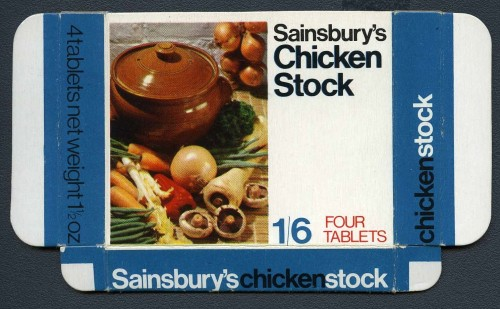 SA/PKC/PRO/1/14/2/2/43/1 - Sainsbury's Chicken Stock (four tablets) box, 1965