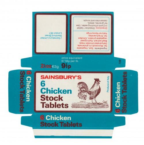 SA/PKC/PRO/1/14/2/2/43/3 - Sainsbury's 6 Chicken Stock Tablets packet 9½p, 1973