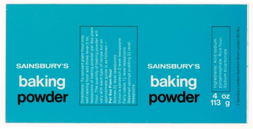 SA/PKC/PRO/1/14/2/2/67/1 - Sainsbury's Baking Powder 4 oz 113 g tin label, 1977