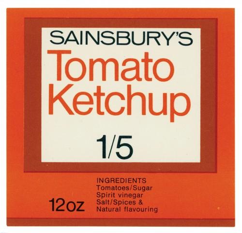 SA/PKC/PRO/1/14/2/4/5/1 - Sainsbury's Tomato Ketchup 12oz label (1/5), 1960s