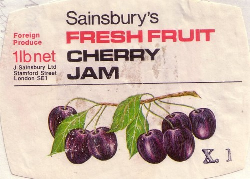 SA/PKC/PRO/1/14/2/4/70/1 - Sainsbury's Fresh Fruit Cherry Jam 1lb label, 1960s-1970s