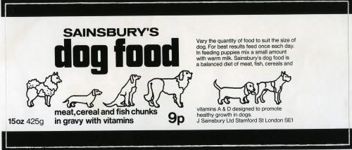 SA/PKC/PRO/1/15/1/1/1 - Sainsbury's Dog Food label 1972