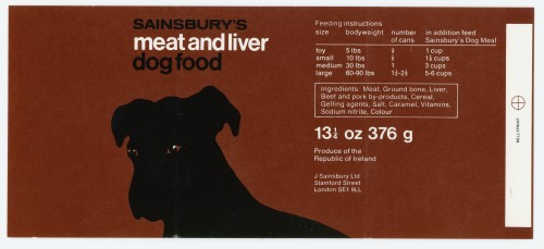 SA/PKC/PRO/1/15/2/1/1 - Sainsbury's Meat and Liver Dog Food label, c. 1976