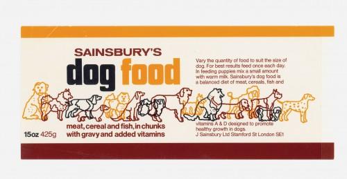 SA/PKC/PRO/1/15/2/3/1 - Sainsbury's Dog Food 15oz 425g label, 1970s-1980s