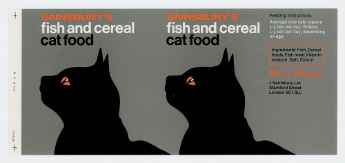 SA/PKC/PRO/1/15/2/7/1 - Sainsbury's Fish and Cereal Cat Food 14½ oz 411 gram label, 1970s-1980s