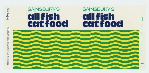 SA/PKC/PRO/1/15/2/8/1 - Sainsbury's All Fish Cat Food 14½oz 411g label, 1975