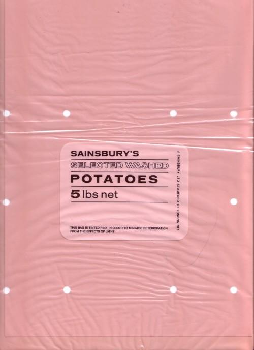SA/PKC/PRO/1/17/2/2/1 - Sainsbury's Selected Washed Potatoes 5lbs bag, 1960s-1970s