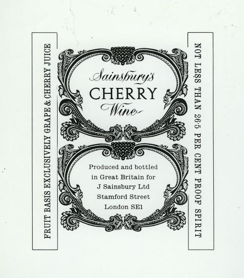 SA/PKC/PRO/1/18/1/24/2 - Sainsbury's Cherry Wine label design