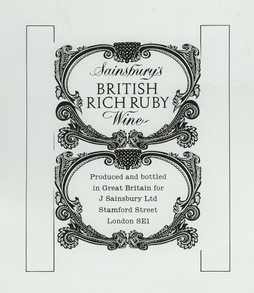 SA/PKC/PRO/1/18/1/24/3 - Sainsbury's British Rich Ruby Wine label design