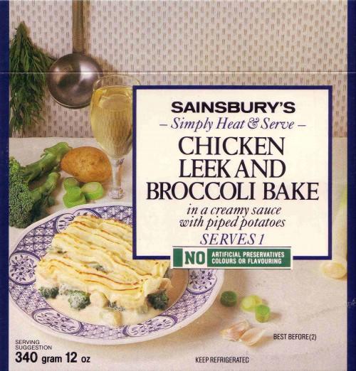 SA/PKC/PRO/1/19/2/24/1 - Sainsbury's Simply Heat & Serve Chicken Leek and Broccoli Bake packet