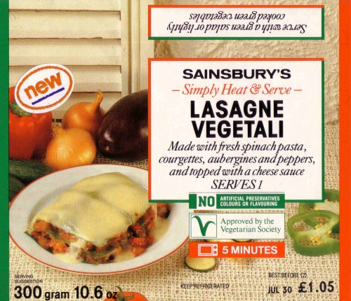 SA/PKC/PRO/1/19/2/39 - Sainsbury's simply heat and serve lasagne vegetali packaging