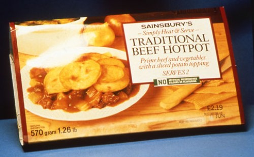 SA/PKC/PRO/1/19/4/1/1/2 - Photograph (transparency) of Sainsbury's Simply Heat & Serve Traditional Beef Hot Pot ready meal packet