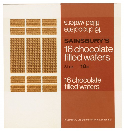 SA/PKC/PRO/1/2/2/4/1/1 - Sainsbury's 16 Chocolate Filled Wafers label, 1969