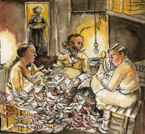 SA/PKC/PRO/1/23/4/1/5 - Illustration of men plucking turkeys
