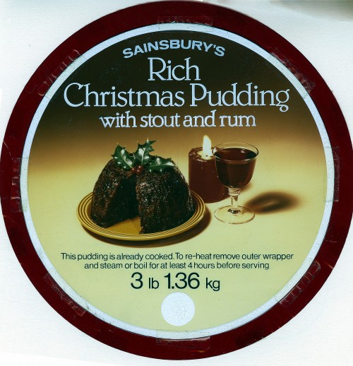 SA/PKC/PRO/1/3/1/113/1 - Sainsbury's Rich Christmas Pudding with stout and rum packaging