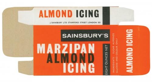 SA/PKC/PRO/1/3/2/3/15/1 - Sainsbury's Marzipan Almond Icing packet, 1964