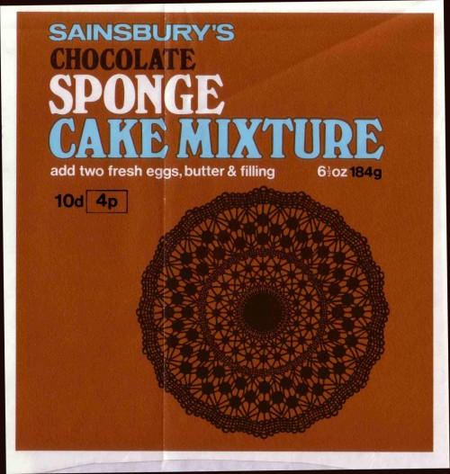 SA/PKC/PRO/1/3/2/3/29/2 - Sainsbury's Chocolate Sponge Cake Mixture label